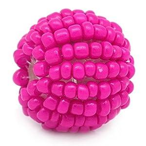 Housweety 10 Fuchsie Handgemachte Roccailles Kugel Glasperlen Seed Beads 19mm