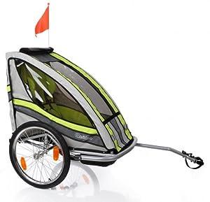 Fahrradanhänger ohne Joggerset Grün Speedkid1 Qeridoo Kinderfahrradanhänger Kinderanhänger 1 Kind