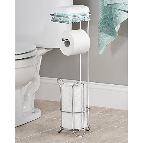 InterDesign Classico Free Standing Toilet Paper Holder With Shelf For Bathroo