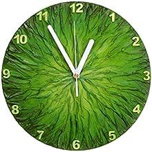 WOOD GRASS GREEN WALL CLOCK HANDPAINTED