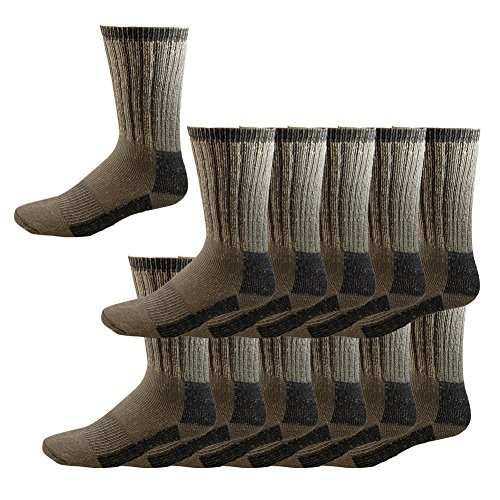 RSG Kids & Adult Merino Wool Insulating Boot Socks, 2-Pair or 12-Pair Pack (10 Colors)