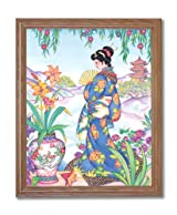 Japanese Girl Woman In Garden Asian Contemporary Home Decor Wall Picture Oak Framed Art Print