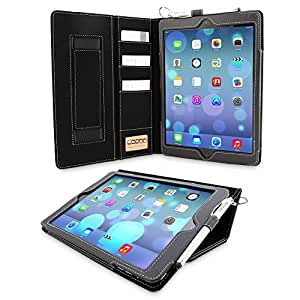 Snugg™ iPad Air (iPad 5) Case - Executive Smart Cover With Card Slots & Lifetime Guarantee (Black Leather) for Apple iPad Air (2013)