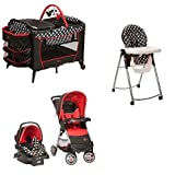 Disney 4 Pc. Set Mickey Mouse Newborn Infant Baby Boy Travel System Stroller Car Seat High Chair Crib Play Yard (Color: Red)
