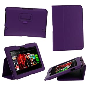 rooCASE Ultra-Slim (Purple) Vegan Leather Folio Case for Amazon Kindle Fire HD 8.9 Inch Tablet - Slim Profile 17mm - Support Landscape / Portrait / Typing Stand / Auto Sleep and Wake (NOT Compatible with Fire HD 7-Inch)