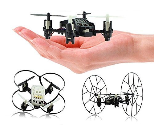 Top Race 4-Channel Micro Mini-Drone Rolling Quadcopter with Wheels