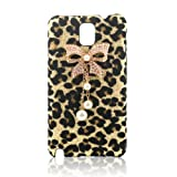 Bling Diamond Glitter Bow White Pearls Leopard Hard Case Cover For Samsung Galaxy Note 3 N9000 Phone