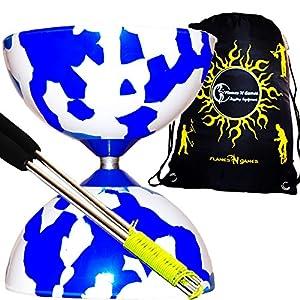 Jester Diabolos + Metal Diabolo Sticks, Diablo String & Travel Bag!(Blue/White)