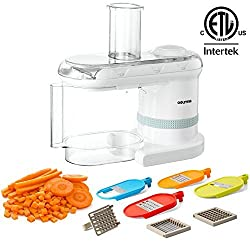 Gourmia GMS-100 Power Dicer Plus Multi-Purpose 5-in-1 Electric Mandoline Food Dicer Chopper Slicer Grater and Shredder, Includes 6 Blades, White