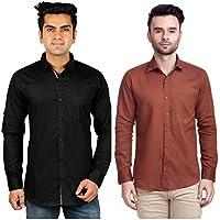 Nimegh Black, Brown Color Cotton Casual Slim fit Shirt For men's (Pack of 2)