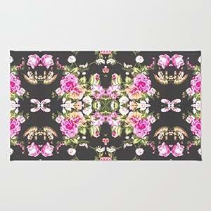 society6 mod pink black floral pattern