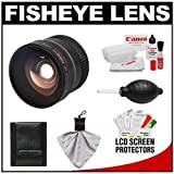 Precision Design 0.25x Fisheye Lens with Cleaning Kit for Canon Rebel T2i, T3, T3i, T4i, EOS 60D, 7D, 5D Mark II III Digital SLR Cameras with EF-S 18-55mm, 75-300mm III, or 55-250mm IS Zoom Lens