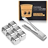 Kollea 6PCS Stainless Steel Chilling Reusable Ice Cubes for Whiskey Wine Drinks