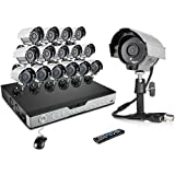 ZMODO 16CH 600TVL Home Security Camera System DVR Recorder with 16 High Resolution Outdoor Weatherproof Night Vision CCTV Surveillance Cameras No Hard Drive