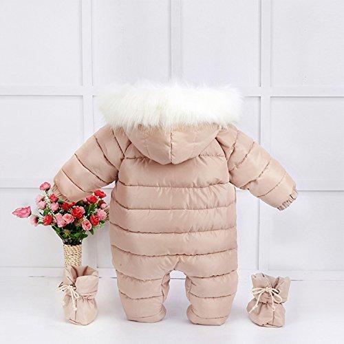 100% Down Cotton Baby Romper Winter Coat Cute Baby Snowsuit for 0-24 Months Baby (Medium(8-15months), Khaki)