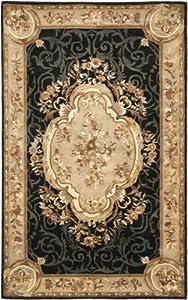 Safavieh Empire Collection Handmade Black and Dark Beige Premium Wool Area Rug, 6-Feet by 9-Feet