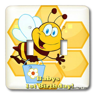 Lsp_58845_2 Edmond Hogge Jr Insects - Bumble Bee Babys 1St Birthday - Light Switch Covers - Double Toggle Switch front-55309