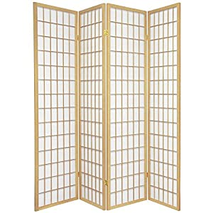 Oriental Furniture Asian Furniture, 6-Feet Window Pane Japanese Shoji Privacy Screen Room Divider, 4 Panel Natural