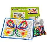 Fajiabao 350 Pcs Mushrooms Nails Building Jigsaw Puzzle Flashboard Toys Set With Basket For 3 Years Old And Up...