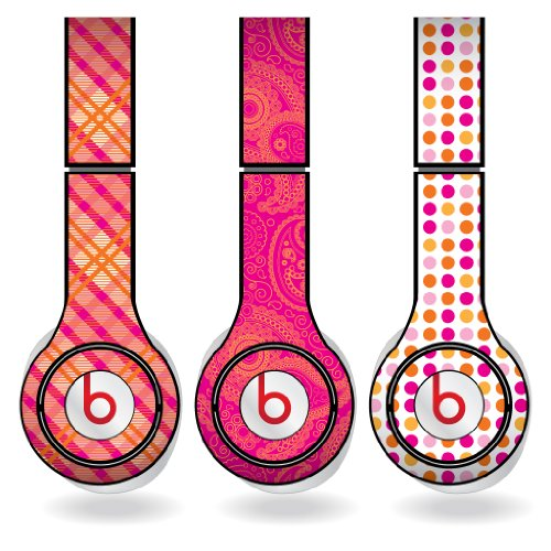 Orange & Pink Different Pattern Set Of 3 Headphone Skins For Beats Solo Hd Headphones - Removable Vinyl Decal!