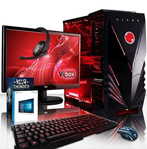 """VIBOX Sniper PC Pacchetto 10XW - 4,0GHz Intel i7 Quad Core CPU, GTX 1060, Estremo, Desktop Gaming PC Raffreddato a Liquido con Esclusivo WarThunder Gioco Voucher Bundle, 22"""" Monitor, Gaming Tastiera e Mouse, Windows 10 OS, Garanzia a vita* (3,4GHz (4,0GHz Turbo) Intel i7 6700 Quad 4-core Skylake Processore CPU, Nvidia GeForce GTX 1060 3GB Scheda Grafica, 16GB DDR4 2133MHz RAM, 120GB Unità a stato solido SSD, 2TB Hard-Disk, Thermaltake Performer C liquido di raffreddamento)"""