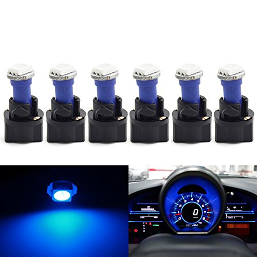 Partsam 6Pack Twist Socket Blue T5 73 74 Led 5050 Smd Instrument Cluster Dash Light