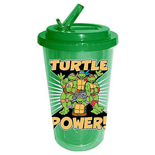 Silver Buffalo NT4284 Teenage Mutant Ninja Turtles Turtle Power BPA-Free Plastic Flip Straw Cup, 16 oz, Green