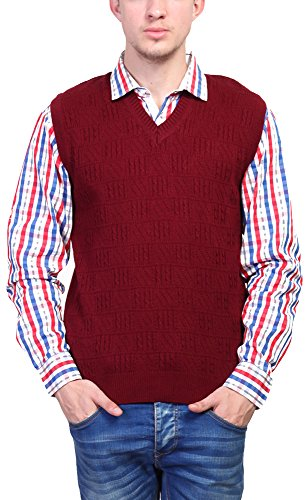 Priknit Men's Blended Sweater (SH-200-40 MAROON, Maroon, 40)