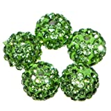 Busy Bead Pack of 20 Light Green Shamballa Clay Crystal Rhinestone Pave Round 10mm Beads