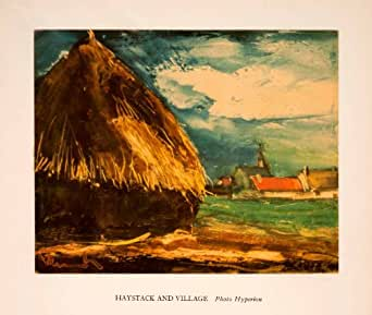1941 Tipped-In Photolithograph Haystack Village Farming Maurice de Vlaminck Art - Orig. Photo-Lithograph