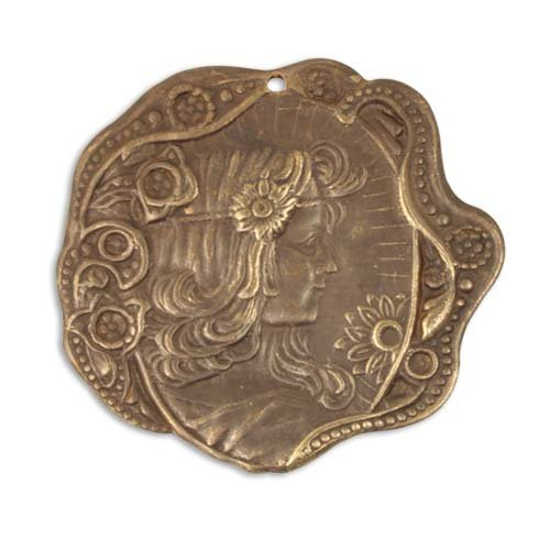 Vintaj Natural Brass Art Nouveau Daisy Maiden Pendant 30mm (1)