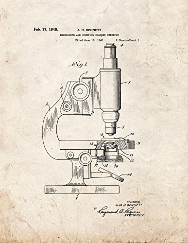 "Microscope And Counting Chamber Patent Art Old Look Print (11"" X 14"")"