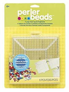 Perler Beads Clear Square Pegboards 4 Pack