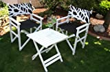 LECO Turin 29100116 2x Directors Chairs and 1x Table White / Black