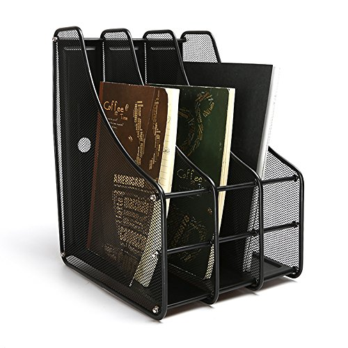 Aojia Mesh Collection 3-compartment Mesh Magazine and Literature File, Black 11