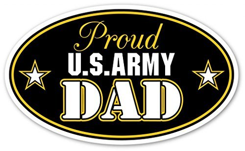 Proud US Army Dad Support our Troops Euro Vinyl Decal Bumper Sticker - Perfect For Car, Wall, Window, Laptop, Motorcycle, Bike, Helmet And Any Smooth Surface 3