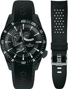 Jacques Lemans Liverpool GMT 1-1584F Men's Black Leather Strap Watch