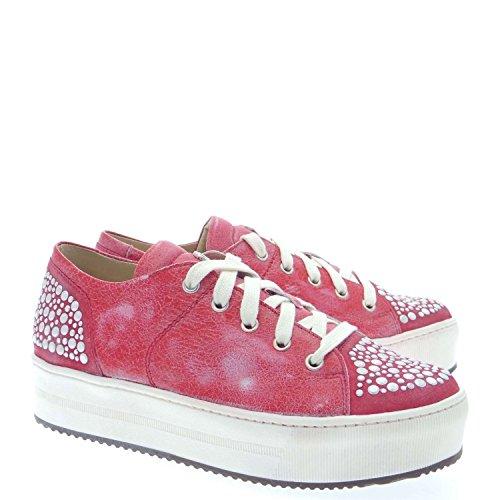 Janet Sport 33854 Sneakers Donna 100% Pelle Rosso Geranio Rosso Geranio 39