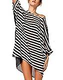 Sexy Womens Oversized Black-white Stripes Beach Bikini Swimwear Cover-up