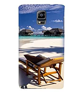 Printvisa Beautiful Seaside With Reclining Beach Chair Back Case Cover for Samsung Galaxy Note 4 N910::Samsung Galaxy Note 4 Duos N9100