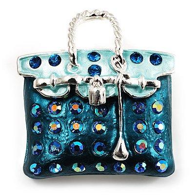 Teal Green Crystal Designer Bag Brooch (Silver Tone)