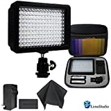 LimoStudio 160 LED Video Light Lamp Panel Dimmable for DSLR Camera DV Camcorder with Hard Carry Case & Black SuperFiber Lens Cleaning Cloth, AGG1814