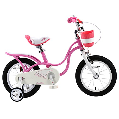 RoyalBaby Little Swan Girl's Bike with basket, 14 inch with training wheels, 18 inch with kickstand, gifts for kids, girls' bicycles 0