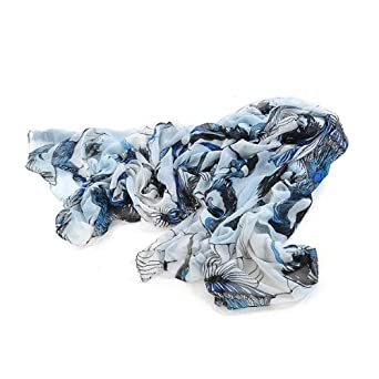 chinkyboo Caltrad 2013 Fashion Women Ladies Long Chiffon Shawls Scarves Wrap Begonia Flower Ink Pattern (Blue)