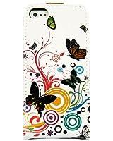 Étui Housse en cuir avec fermeture aimantée pratique Flip à rabat Coque motif de papillon pour Apple iPhone 5 5S 5G