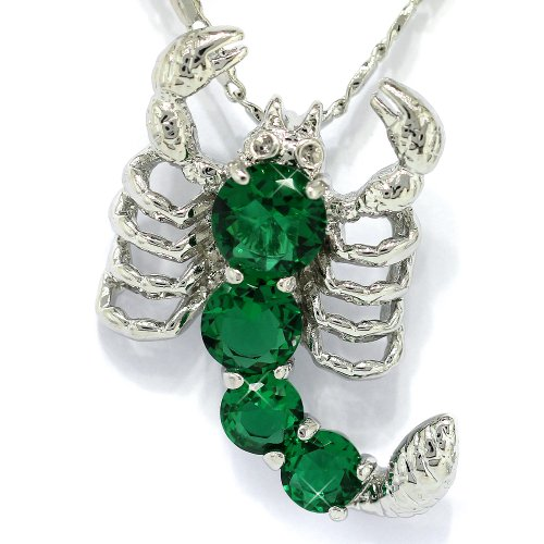 myCullinan Attractive Scorpion White Gold Plated Silver Simulated Emerald Pendant with 18