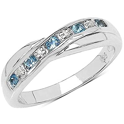 The Blue Topaz Ring Collection: Swiss Blue Topaz & Diamond Channel Set Crossover Eternity Ring in Sterling Silver