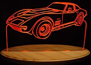 1969 Chevrolet Corvette Stingray Acrylic Lighted Edge Lit LED Car Sign / Light Up Plaque 69 Chevy