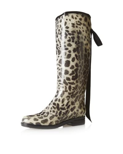 däv Women's Victoria Knee-High Boot  - Black/Snow Leopard