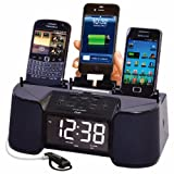 DOK CR32 4-Port Charger with Speaker Alarm Clock and FM Radio - Non-Retail Packaging - Black